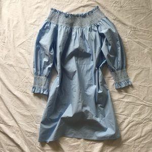 Zara Sky Blue Long Sleeve Strapless Sun Dress